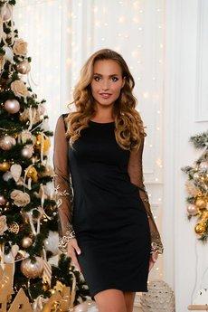 Черное платье с рукавами из сетки Open-Style