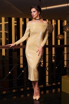 Длинное золотистое платье Angela Ricci